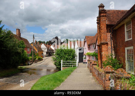 The ford in the centre of the village of Kersey, Suffolk - Stock Photo