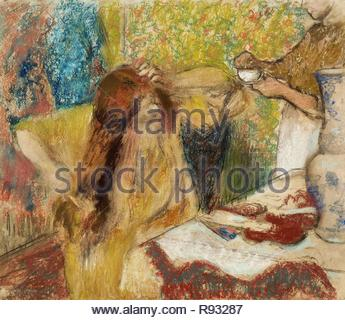 Edgar Degas / 'Woman at her Toilette', 1894, Pastel on paper, 95.6 x 109.9 cm. Museum: The Tate Gallery. - Stock Photo