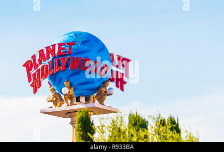LAS VEGAS, USA - JANUARY 31, 2018: View of the sculpture 'Planet Hollywood'. Copy space for text - Stock Photo