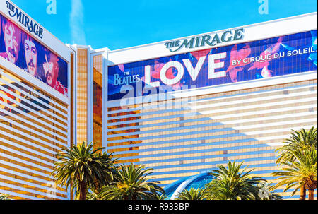 LAS VEGAS, USA - JANUARY 31, 2018: View of the facade of the hotel building Mirage - Stock Photo