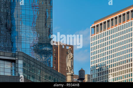 Statue of Christopher Columbus at Columbus Circle in New York City - Stock Photo
