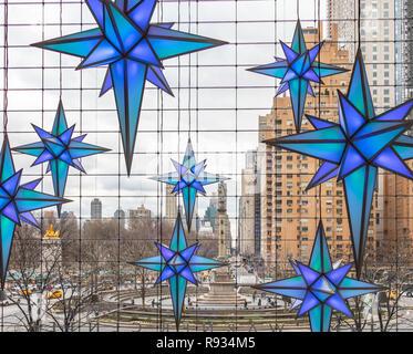 Time Warner Center at Columbus Circle in New York City at Christmas decorations - Stock Photo