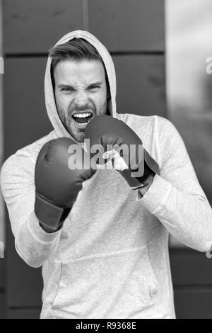 Boxing concept. Energetic sportsman in boxing gloves. Man boxer ready for boxing. Nothing like boxing. - Stock Photo