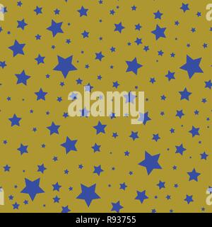 Seamless pattern with blue stars on a olive gold background. - Stock Photo