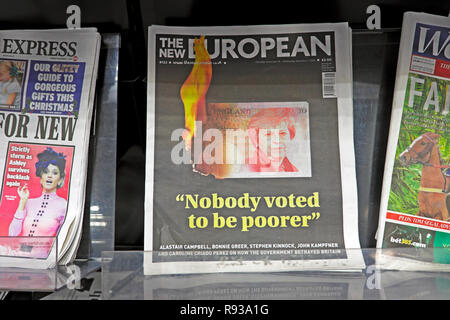 The New European newspaper headline 'Nobody voted to be poorer' November December 2018  London England UK - Stock Photo