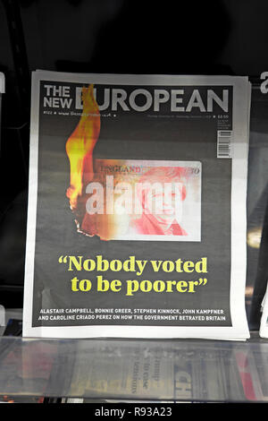 The New European newspaper headline 'Nobody voted to be poorer' anti Brexit Theresa May front page November December 2018  London England UK - Stock Photo