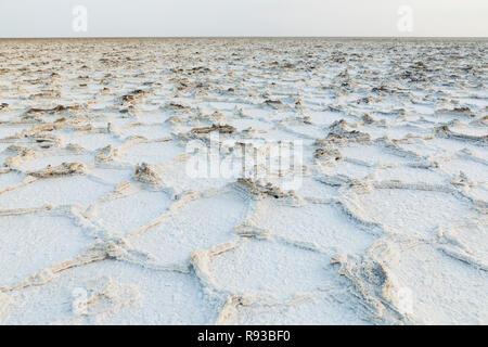 Salt lake, Dallol. Danakil depression, Afar Region, Ethiopia, Africa - Stock Photo