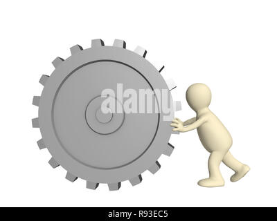 3d puppet with gear - over white - Stock Photo
