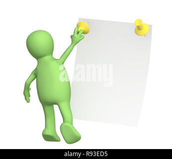 New message - 3d puppet with information sheet Stock Photo