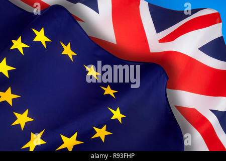 The flags of the United Kingdom of Great Britain and Northern Ireland and the European Union. Brexit. - Stock Photo