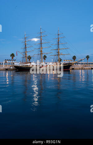 Georg Stage, a three-masted full-rigged Danish training tall ship, Alicante port, Costa Blanca,Spain - Stock Photo