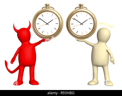 Angel and devil with clock. Isolated over white - Stock Photo