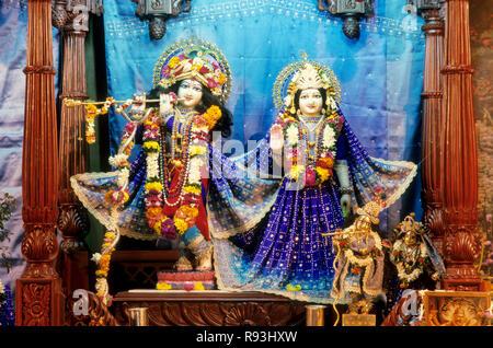idol of  lord krishna and radha, iskcon hare krishna temple, pune, maharashtra, india - Stock Photo