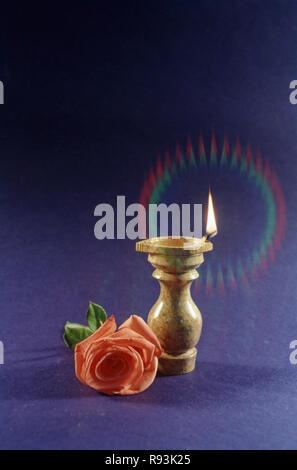 diwali diya burning oil lamp indian festival of lights india - Stock Photo