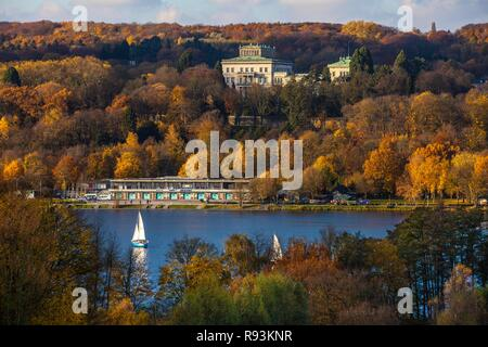 Villa Huegel, former residence of the Krupp family, above Lake Baldeney in autumn, Essen, North Rhine-Westphalia - Stock Photo