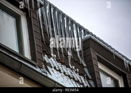 Large icicles hanging from the eaves of a house, sign of a poorly heat-insulated roof, Essen, North Rhine-Westphalia, Germany - Stock Photo