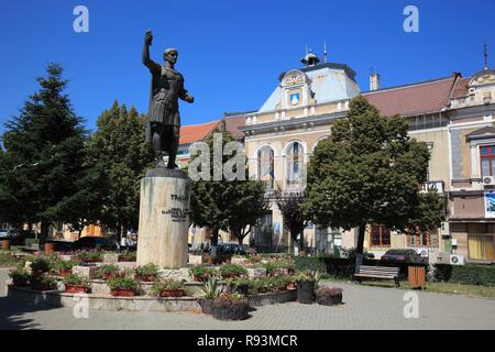 Statue of the Roman emperor Trajan in front of the Town Hall, Deva, Diemrich, Siebenbürgen, Romania - Stock Photo