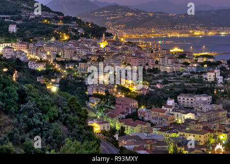 Vietri sul Mare village night view , at the eastern end of the Amalfi Coast in southern Italy, in background Salerno city, Italy    Photo © Fabio Mazz - Stock Photo