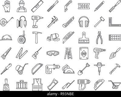 Masonry worker construction icon set. Outline set of masonry worker construction vector icons for web design isolated on white background - Stock Photo