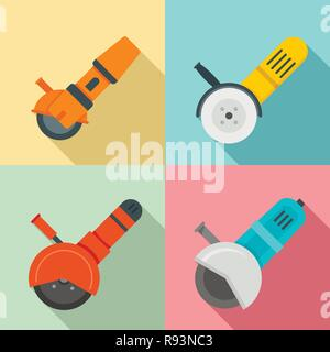 Angle grinder icon set. Flat set of angle grinder vector icons for web design - Stock Photo