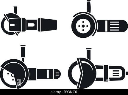 Angle grinder tool icon set. Simple set of angle grinder tool vector icons for web design on white background - Stock Photo