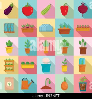 Greenhouse icon set. Flat set of greenhouse vector icons for web design - Stock Photo