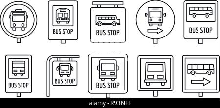 City bus stop sign icon set. Outline set of city bus stop sign vector icons for web design isolated on white background - Stock Photo