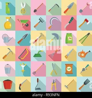 Gardening tools icon set. Flat set of gardening tools vector icons for web design - Stock Photo