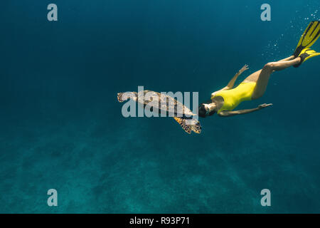 girl in a yellow swimsuit swims with a turtle - Stock Photo