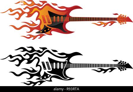 Electric guitar on fire in full color and black flames vector illustration - Stock Photo