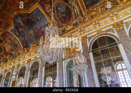 Old View Of The Hall Of Mirrors In The Palace Of Versailles France