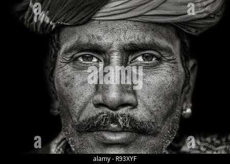 Portrait of a man from Pushkar, monochrome, Rajasthan, India - Stock Photo