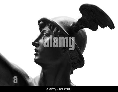 Ancient statue of the antique god of commerce, merchants and travelers Hermes (Mercury). He is alsow olympic gods messenger with wings on a helmet. - Stock Photo
