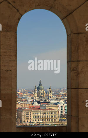 Budapest Aerial panorama many roofs of historic buildings on the banks of the Don with docks for pleasure craft. Hungary Budapest March 2018. - Stock Photo