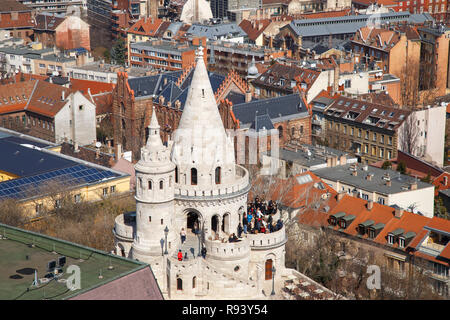 The historic Fishermans Bastion in Budapest, Hungary. - Stock Photo