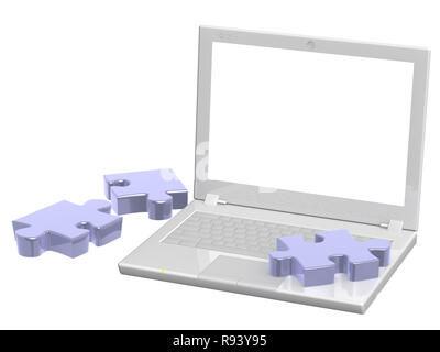 Laptop and puzzles - objects over white - Stock Photo