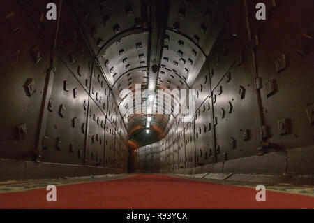 Moscow, Russia - October 25, 2017: Tunnel at Bunker-42, anti-nuclear underground facility built in 1956 as command post of strategic nuclear forces of - Stock Photo