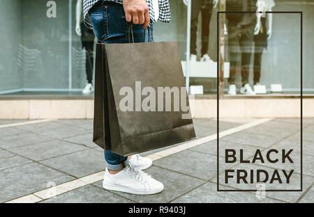 Man shopping. Black friday concept