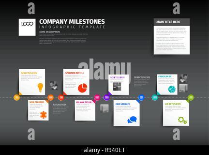 Vector dark horizontal Infographic timeline report template