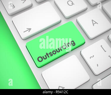 Outsourcing - Text on the Green Keyboard Keypad. 3D. - Stock Photo