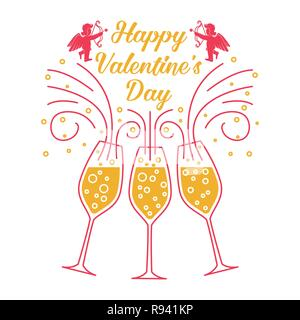 Happy Valentines Day. Stamp, badge, sticker, card with Champagne glass and amur baby angel Vector. Vintage typographic design for invitations, Valentines Day romantic celebration emblem in retro style - Stock Photo