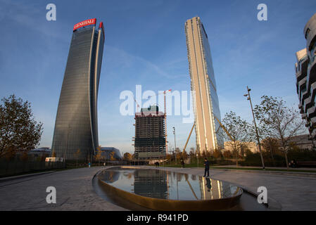 MILAN, ITALY, DECEMBER 5, 2018 - Hadid tower and Isozaki tower in Milan 'City Life' district in Tre Torri place, Milan, Italy - Stock Photo