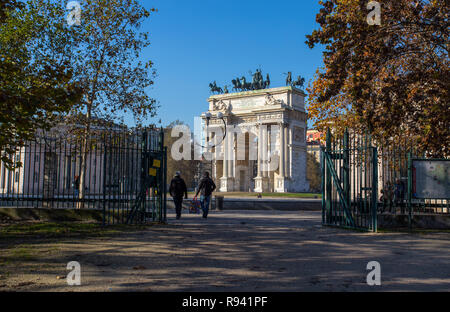 MILAN, ITALY, DECEMBER 5, 2018 - View of Arco della Pace, (Arch of Peace), from Sempione Park in city center of Milan, Italy - Stock Photo