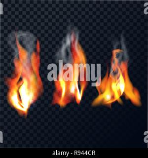 Set of flames with smoke on a transparent background. The realistic bright fire isolated. Vector illustration. - Stock Photo
