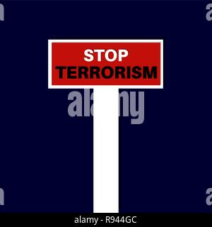 Stop terrorism. Vector illustration. Symbolizes a protest against extremism, acts of terrorism. The way conducts in an impasse. - Stock Photo