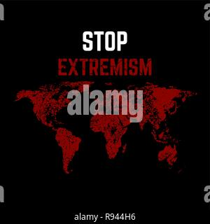 The vector illustration Feet extremism against the background of the world map. Extremism won't pass. The mankind is in danger. A protest against the  - Stock Photo