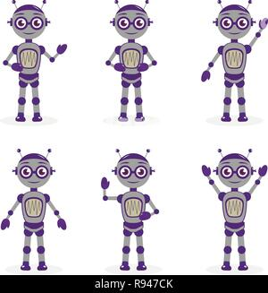 Cartoon robot mascot set of objects in flat style. Robots character collection. Isolated on white background. Vector illustration. - Stock Photo