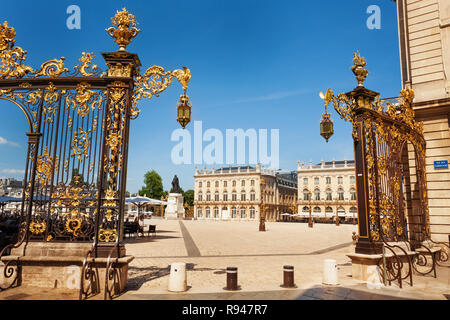 Golden gates to Place Stanislas in Nancy, the capital of the north-eastern French department of Meurthe-et-Moselle, France, Europe - Stock Photo