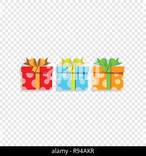 Vector illustration of cute cartoon set of colorful gift boxes wrapped with festive bow isolated on transparent. Presents, icons, anniversary logo, bi - Stock Photo