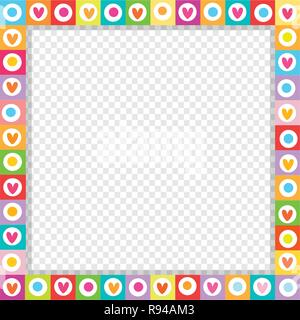 Cute vector square love border made of doodle hand drawn hearts in bright colors isolated. Template with copy space for valentines greeting card, dati - Stock Photo